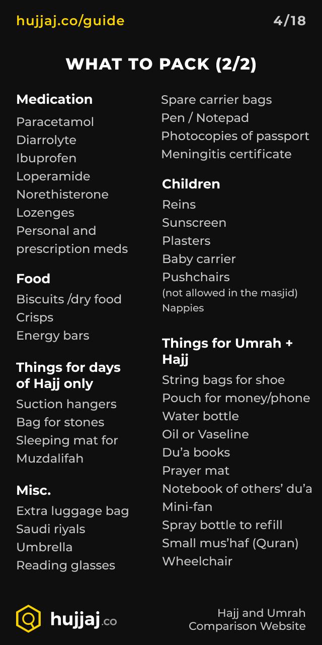 Hujjaj.co - Hajj and Umrah Cheatsheets - [4/18] What to pack (2/2)